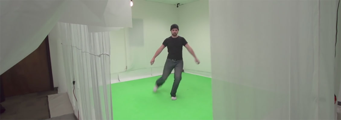 student in markerless motion capture studio