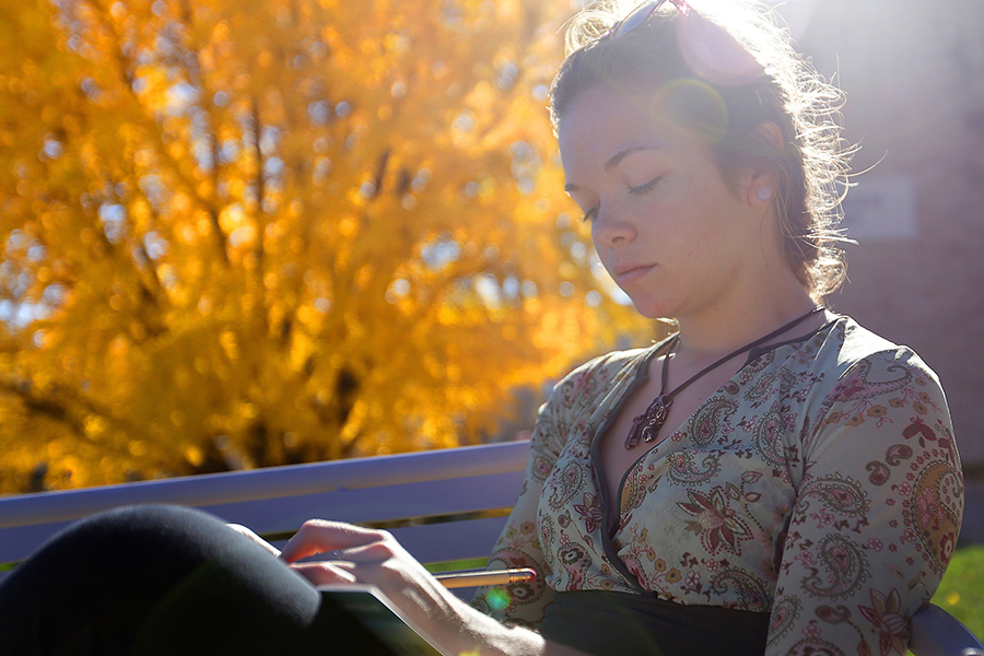 UW-Whitewater Student writing on a bench near Ginko tree