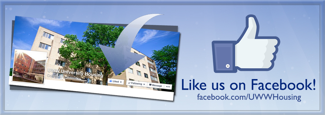 Image of a dorm with a request to like UWW on Facebook