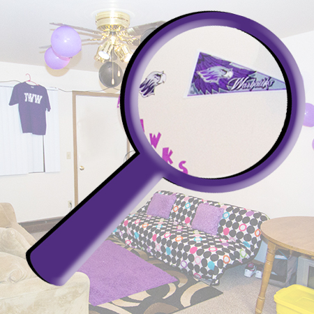 Dorm room with a large magnifying glass over the photo enlarging part of the room