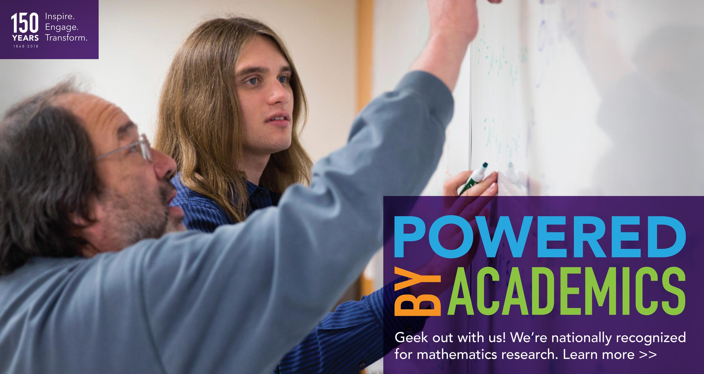 Geek out with us! We're nationally recognized for mathematics research. Learn more >>