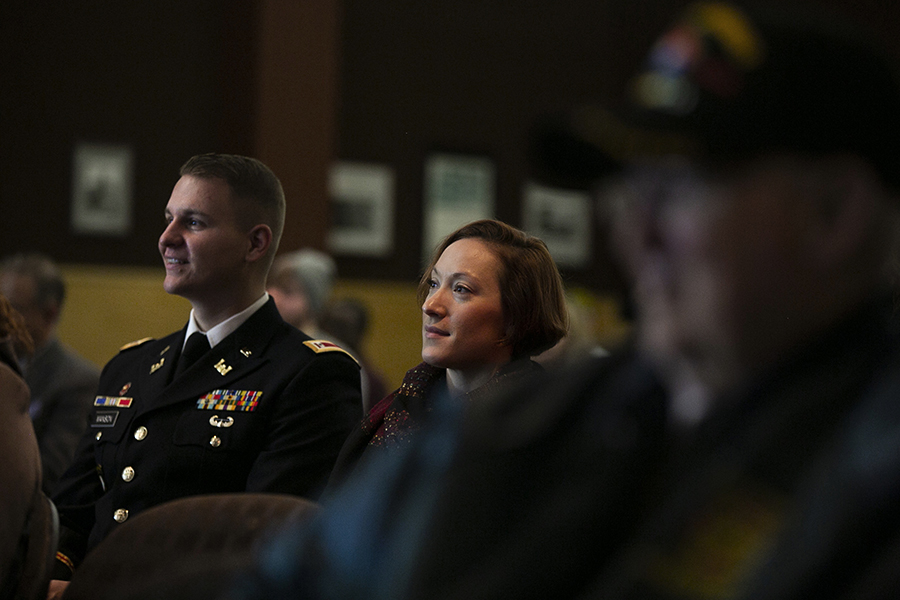 Thor Manson smiles during a Veterans Day Ceremony on campus.