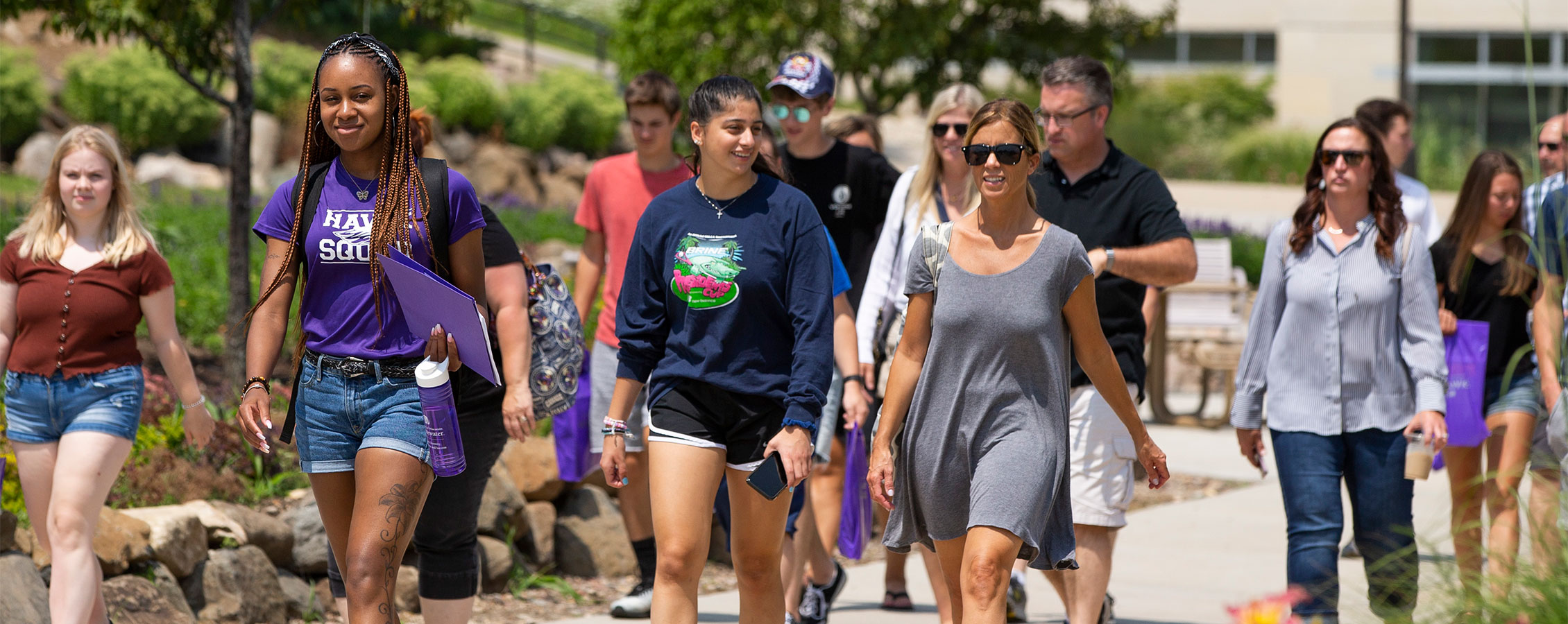Parents and potential incoming freshman take the UW-Whitewater campus tour.