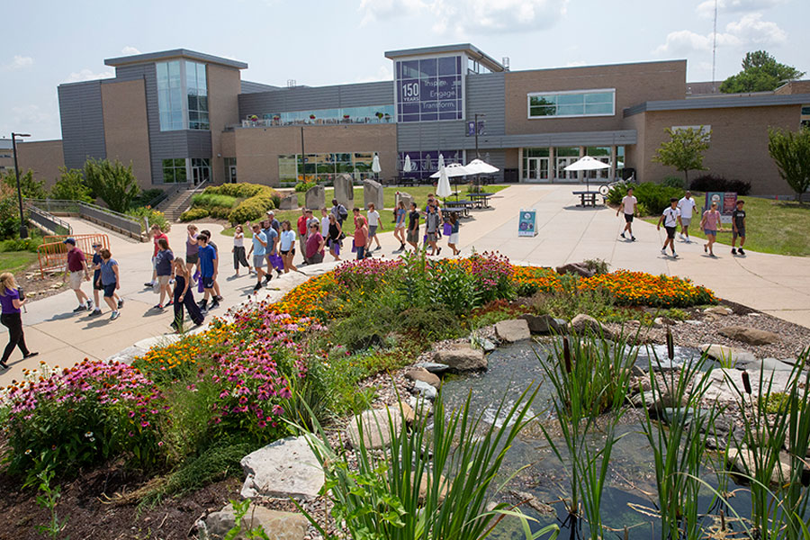 Ariel view of students walking through campus at UW-Whitewater