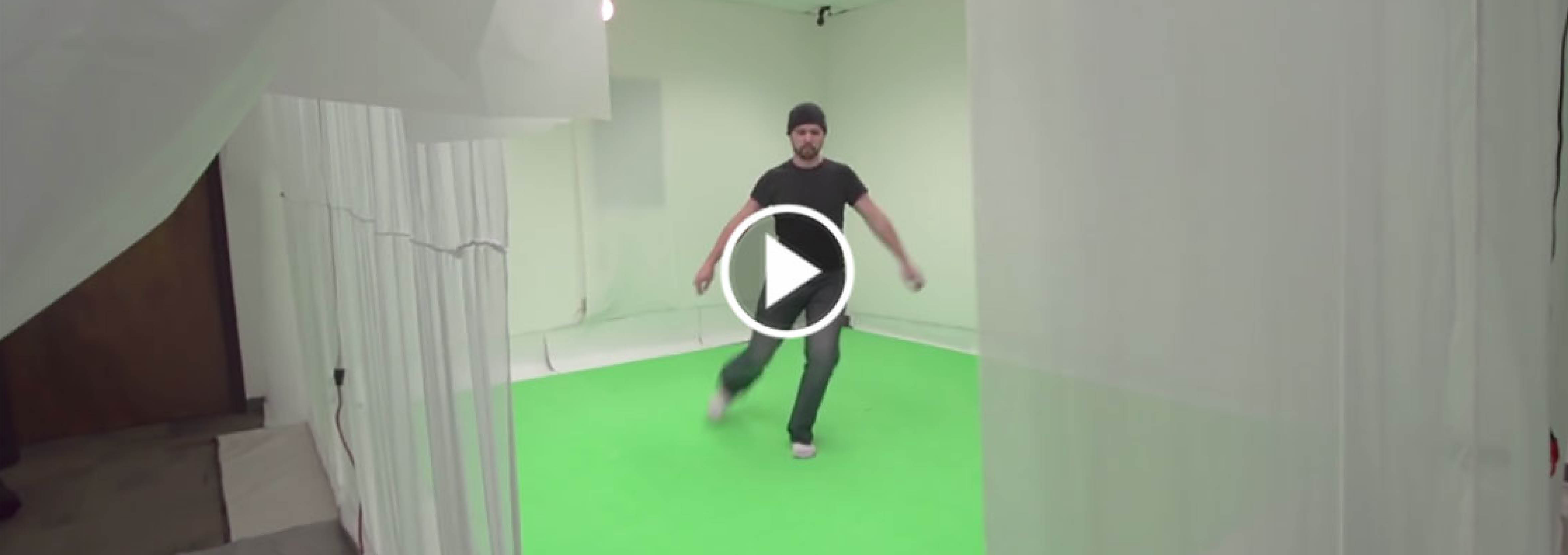 student working in markerless motion capture studio