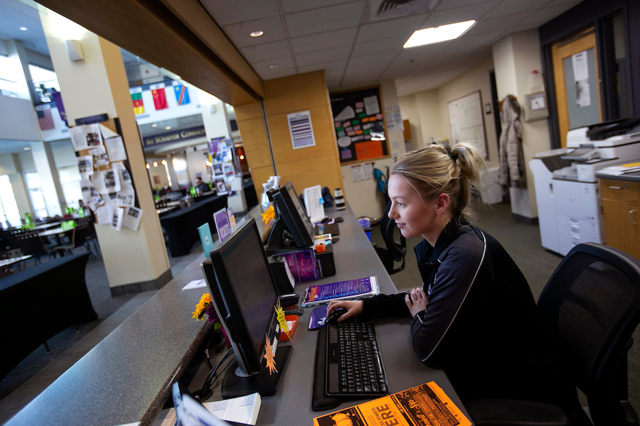 Student working in the University Center at UW-Whitewater