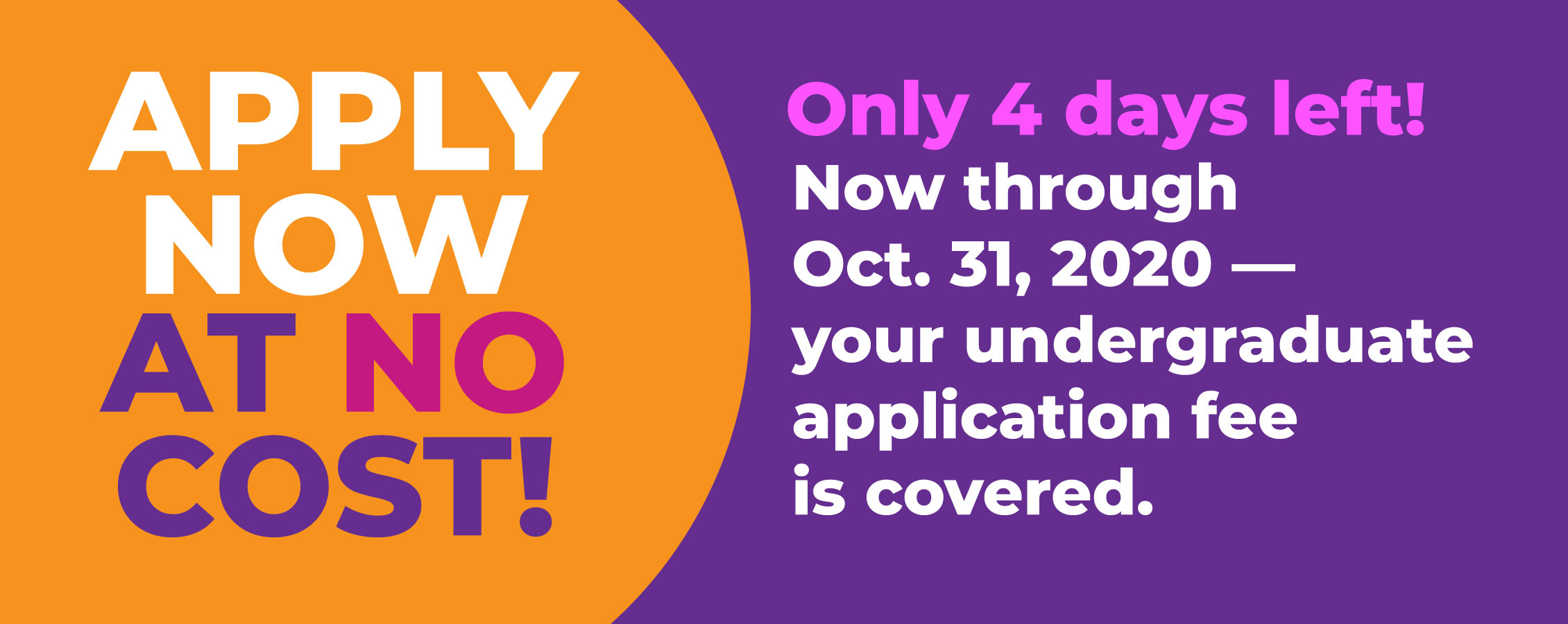 Purple and orange graphic, says apply now at no cost!
