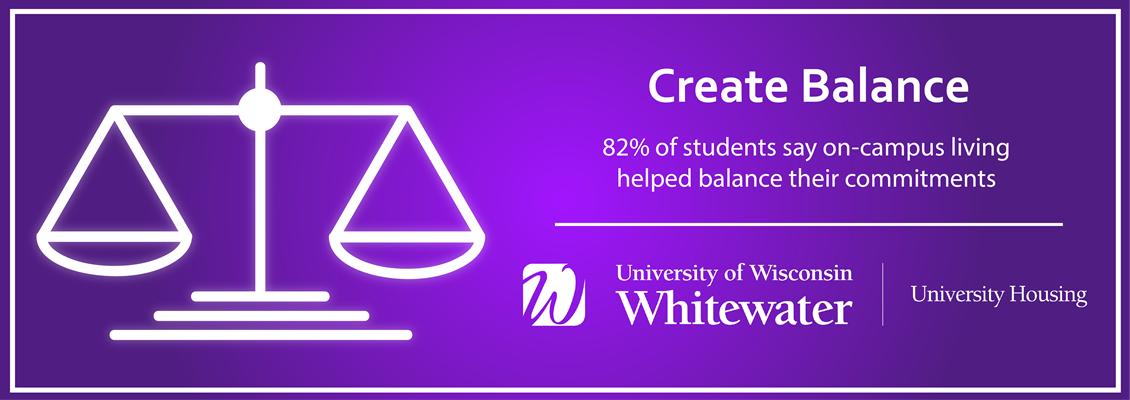 Create Balance: 82% of students say on-campus living helped balance their commitments.