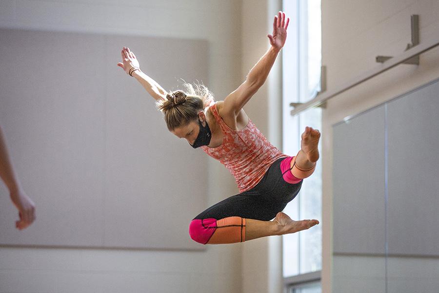 Piper Morgan Hayes jumps through the air.