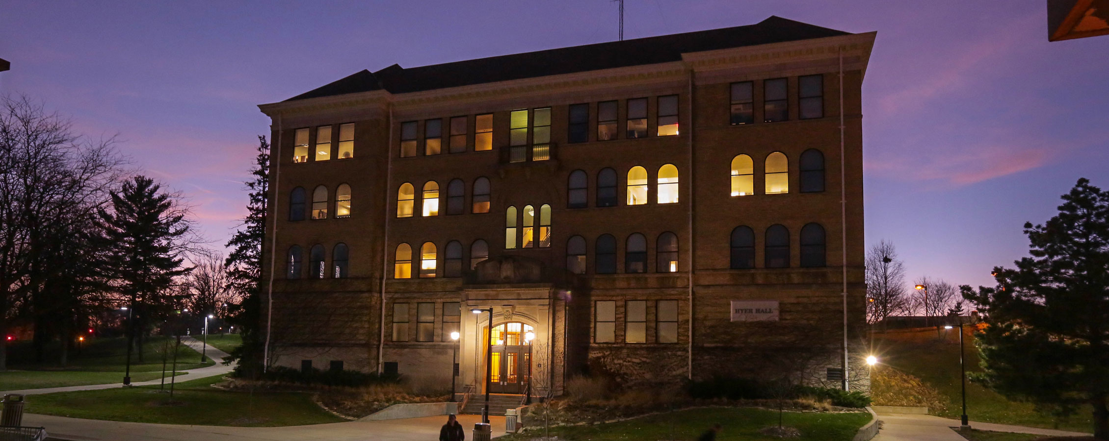 A night view of Hyer Hall.