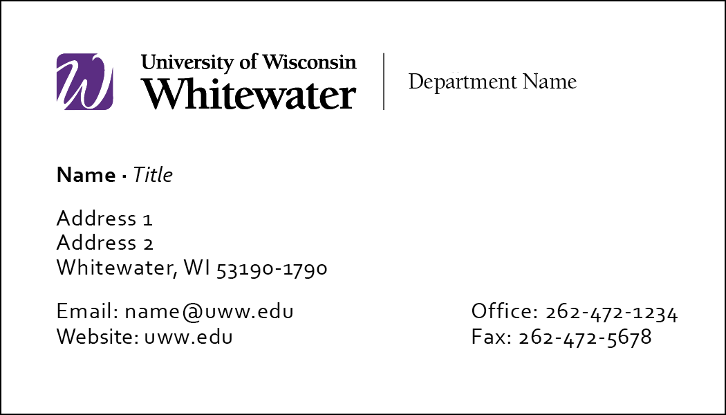 Front of UWW business card option #1