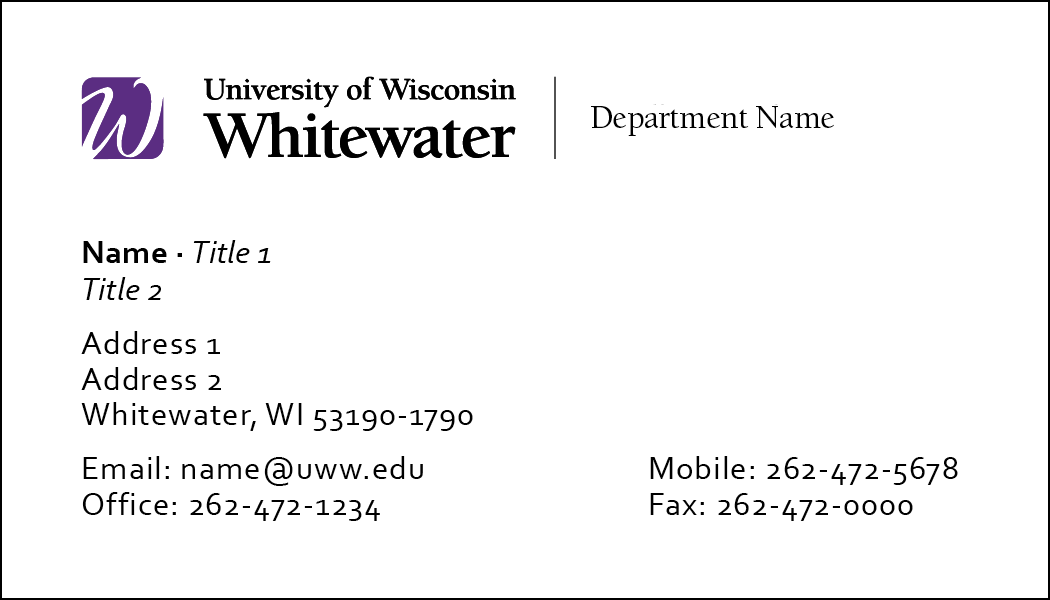 Front of UWW business card option #2