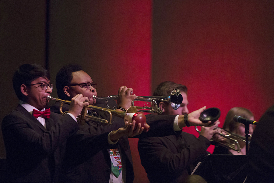 Music students playing the trumpet