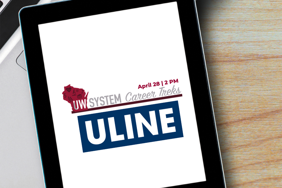 Tablet with Uline logo.