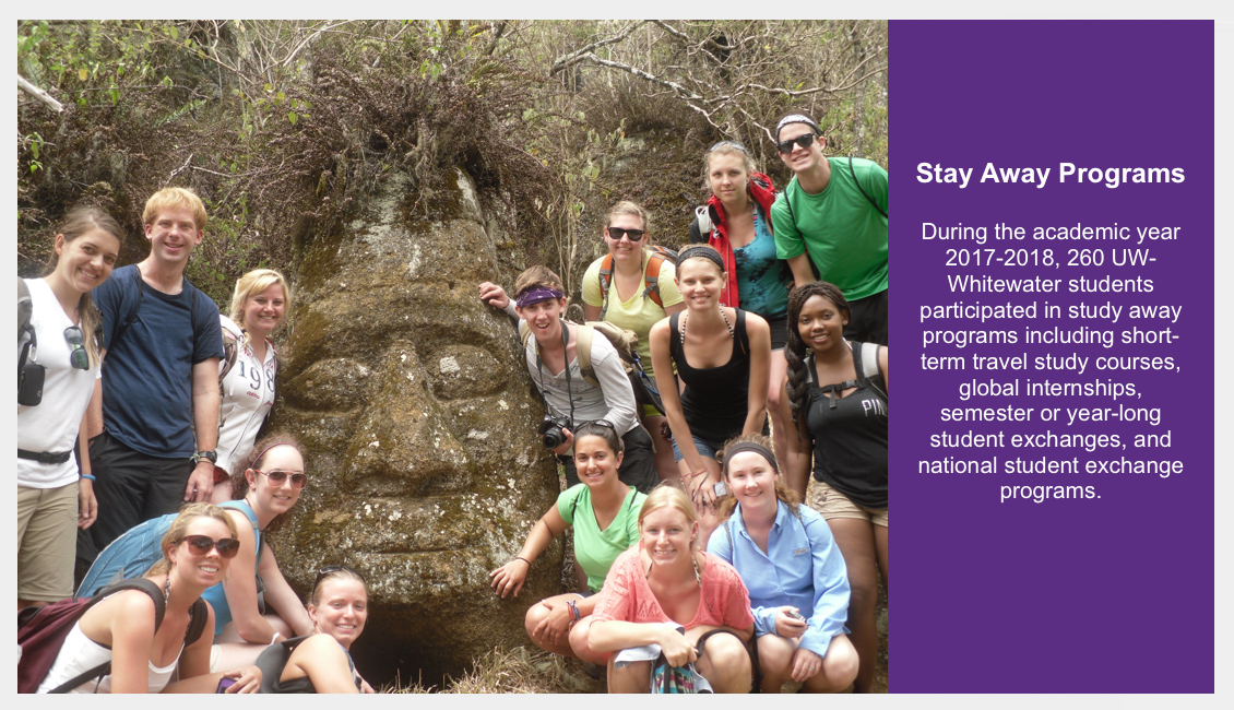 Study Away Programs - During the academic year 2017-2018, 260 UW-Whitewater students participated in study away programs including short-term travel study courses, global internships, semester or year-long student exchanges, and national student exchange programs.